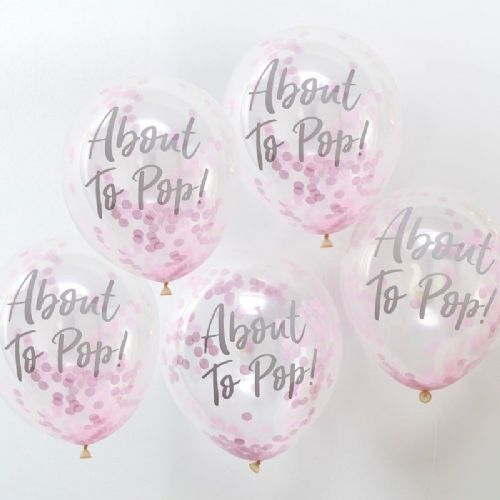 "Oh Baby - ""About To Pop"" Printed Pink Confetti Latex Balloons (5pk)"